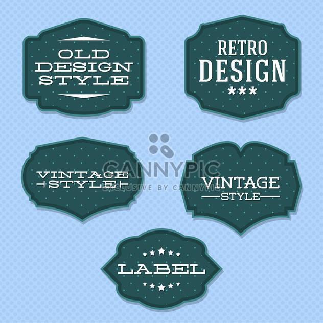 Vector vintage retro labels on blue background - Free vector #130542