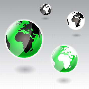 Vector Earth globe icons on grey background - vector gratuit #130612