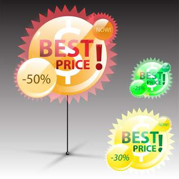 round shaped best price label on grey background - vector gratuit #130632