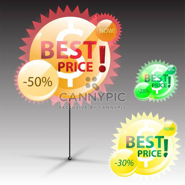 round shaped best price label on grey background - Free vector #130632