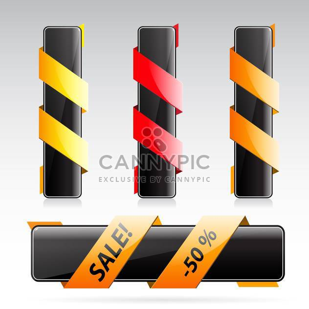 black banners with colorful ribbons on grey background - Free vector #130642