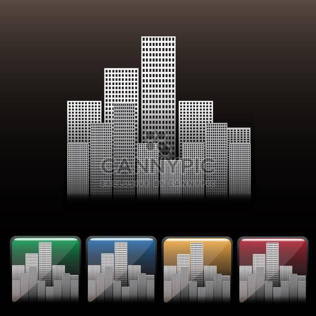 Skyscraper city icon set on black background - Free vector #130652