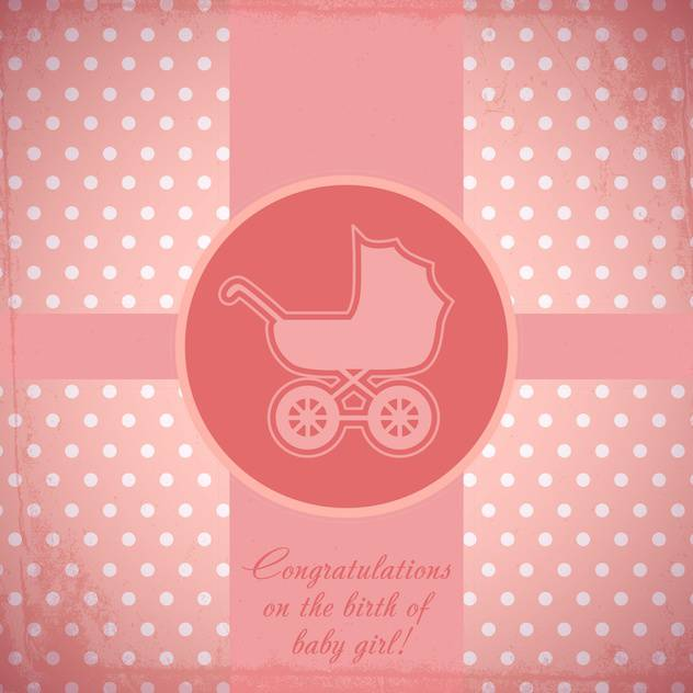 Vector pink card with baby carriage - vector gratuit #130662