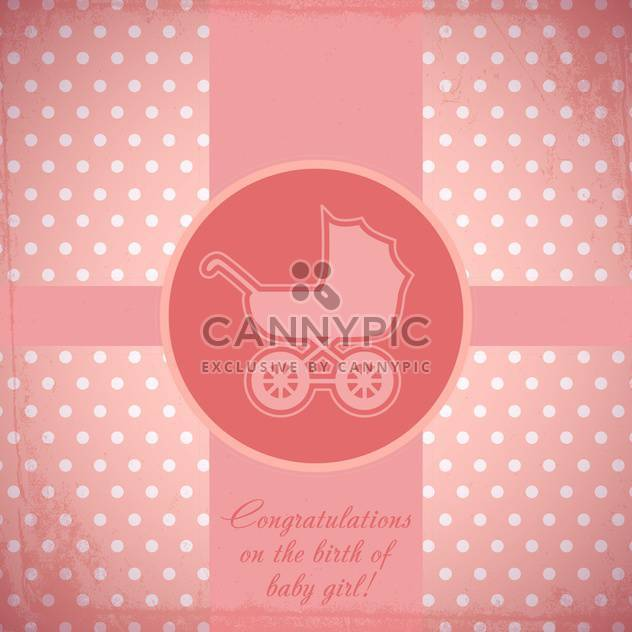 Vector pink card with baby carriage - Free vector #130662