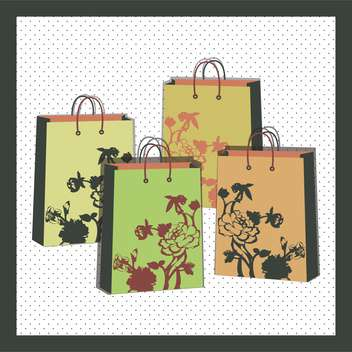 vector illustration of floral shopping bags - vector gratuit #130722