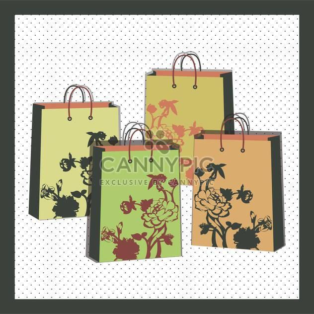 vector illustration of floral shopping bags - Free vector #130722