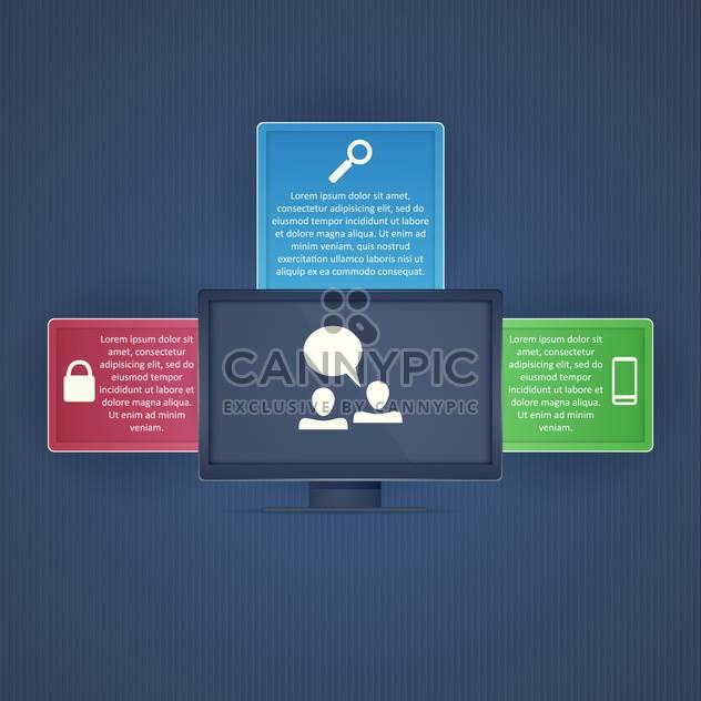 Computer-Display mit Symbolen auf dunkel blauem Hintergrund - Free vector #130752