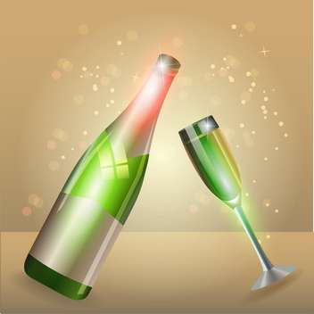 Glass of champagne and bottle on sparkling background - бесплатный vector #130762