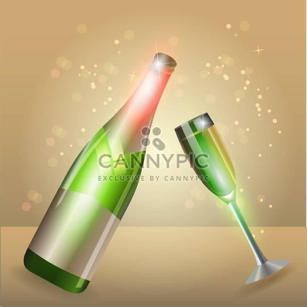 Glas Champagner und Flasche auf glitzernden Hintergrund - Kostenloses vector #130762