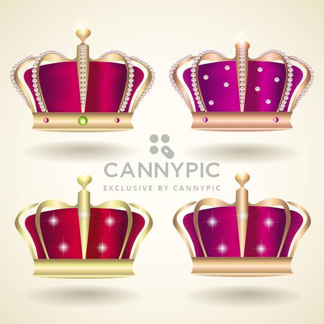 vector collection of red and violet crowns on beige background - Free vector #130782
