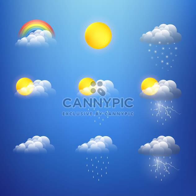 Vector weather icons collection on blue background - Free vector #130812