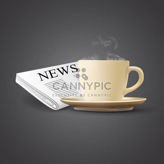 vector illustration of coffee cup and newspaper on grey background - Free vector #130822