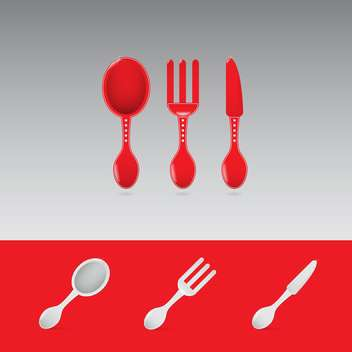 Set of two red restaurant sign with spoon, fork and knife - Free vector #130912