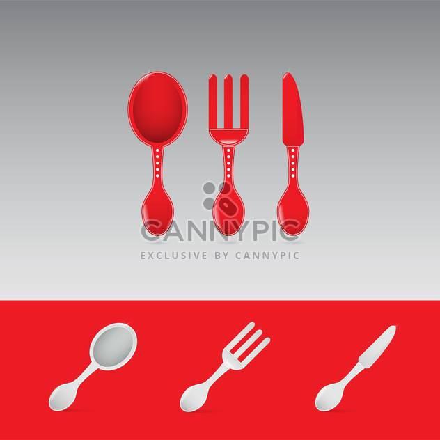 Set von zwei roten Restaurant Schild mit Löffel, Gabel und Messer - Kostenloses vector #130912