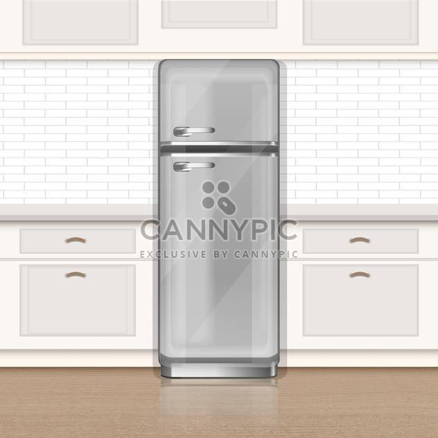 Clipping path of freezer on kitchen vector illustration - Free vector #130932