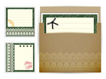 Vintage post card background sample with different elements - vector #130942 gratis