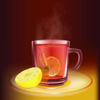 Cup of tea with lemon vector illustration - бесплатный vector #131022