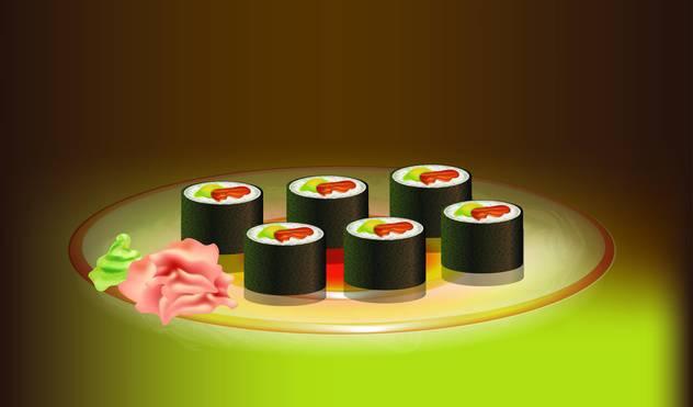 Japanese food sushi vector illustration - vector #131032 gratis