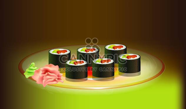 Japanese food sushi vector illustration - Free vector #131032