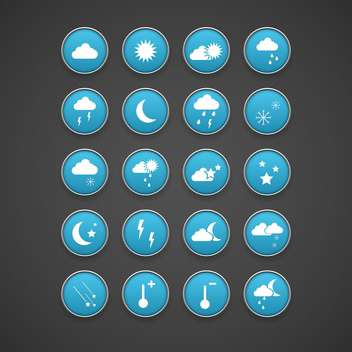 Weather blue icons set on dark background - Free vector #131052