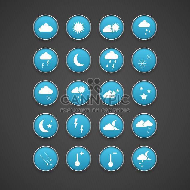 Wetter blaue Symbole festgelegt auf dunklem Hintergrund - Kostenloses vector #131052