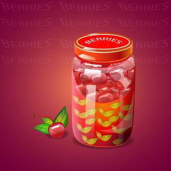 Pot with cherry berries jam - vector gratuit #131072
