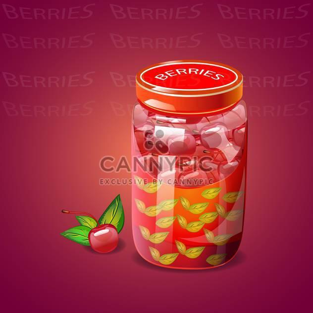 Pot with cherry berries jam - Free vector #131072