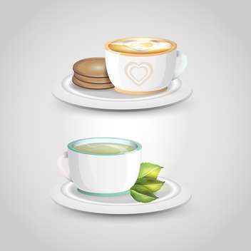 Two vector cups of tea on light grey background - vector gratuit #131102