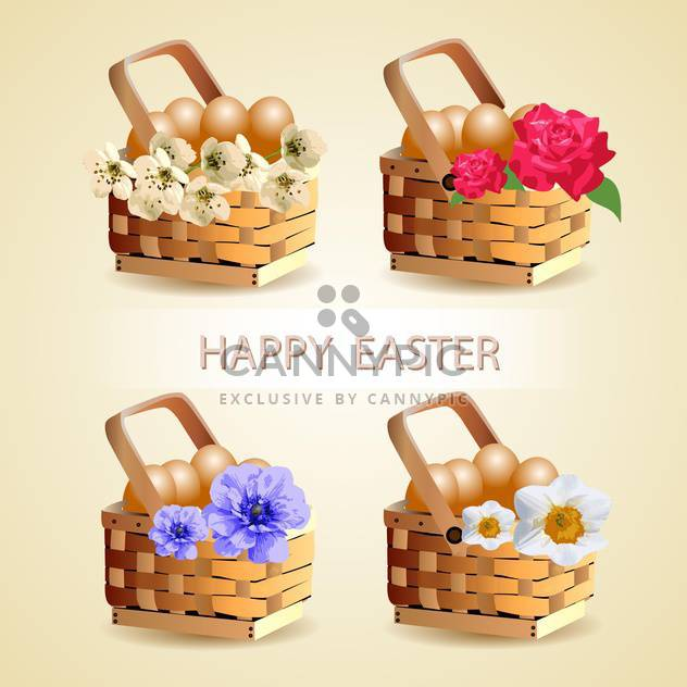 Easter eggs in basket with spring flowers decoration - Free vector #131122