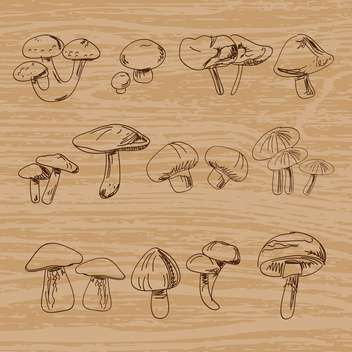 Set of hand-drawn vintage mushrooms - Free vector #131262