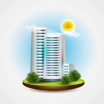 Building on sunny day vector illustration - бесплатный vector #131332