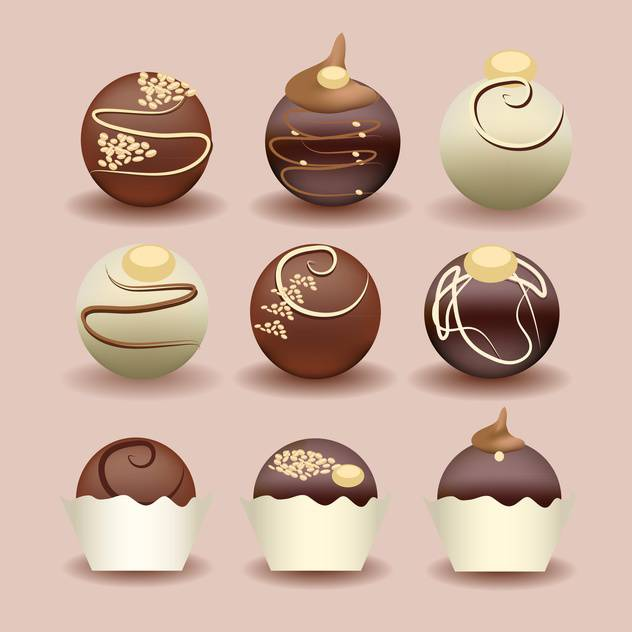 illustration of isolated set of chocolate cakes - vector gratuit #131342