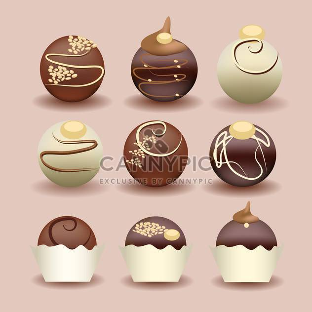 Illustration der isolierten Gruppe von Schokoladenkuchen - Kostenloses vector #131342