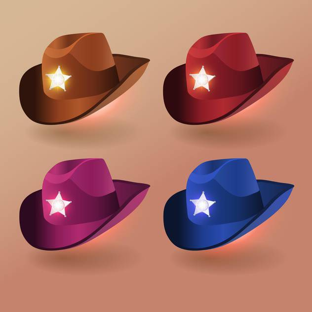 Vector set of sheriff hats - Free vector #131352