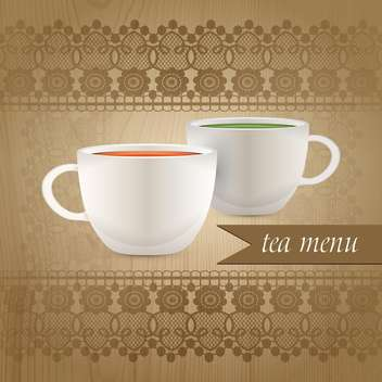 Tea menu with two cups on lace background - vector gratuit #131392