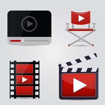 Movie icons set on white background - vector gratuit #131412