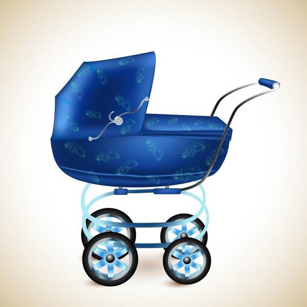 Blue baby buggy on light background - vector gratuit #131582