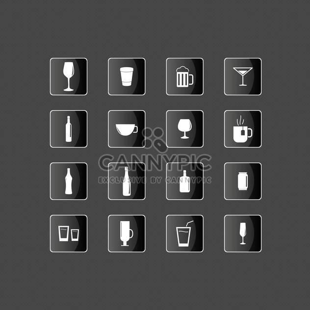 Getränk-Symbole auf schwarzem Hintergrund festlegen - Kostenloses vector #131622