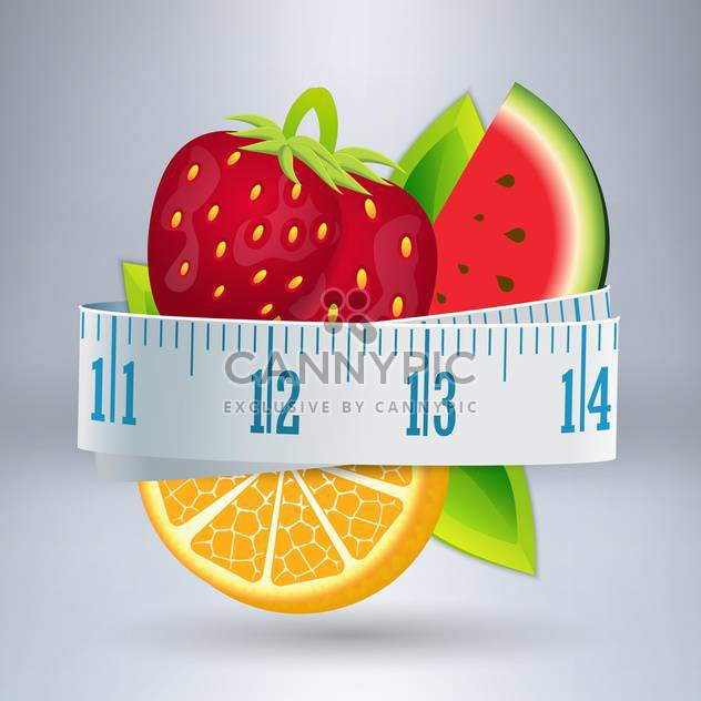 Vector illustration of fruits with measuring tape - Free vector #131732