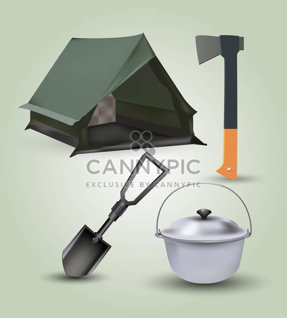 Vector set of hike and tourism equipment - Free vector #131742