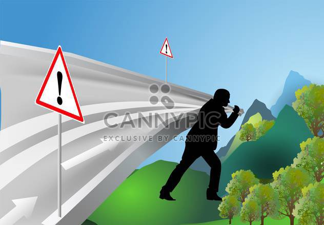 Man leads the way among mountains - Free vector #131842