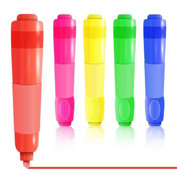 Vector colorful highlighters on white background - vector #131852 gratis