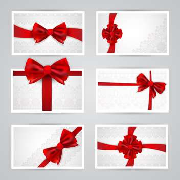 Set of beautiful cards with red gift bows - Free vector #131862