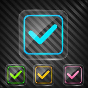 check box with approve sign on black background - Free vector #131922