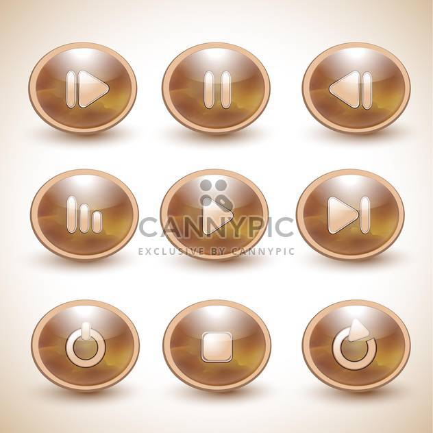 Set of vector brown media player buttons - Free vector #131962