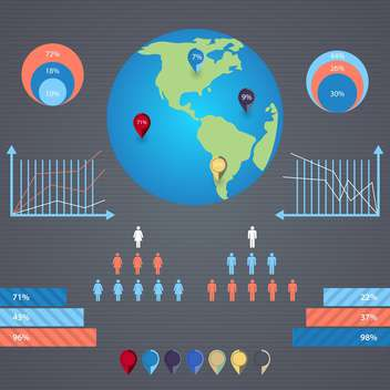 Vector infographics with a population and human icons - Free vector #131992