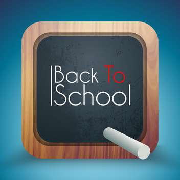 Back to School written on a blackboard standing on blue background - vector gratuit(e) #132042