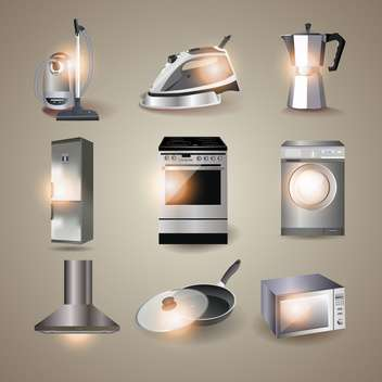 Set of of household appliances vector illustration - Free vector #132052