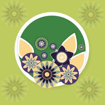 Green vector background with flowers - vector gratuit #132072
