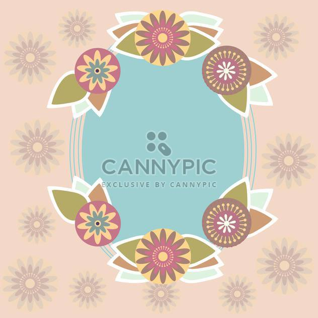 Blue vector frame on floral background - Free vector #132082